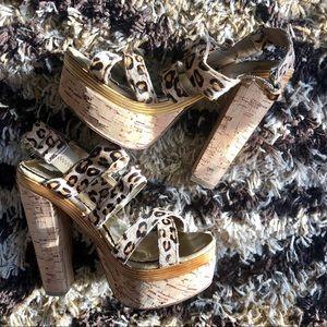 Bebe Cheetah Cork Platform Heels